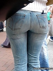 Fatty butts wrapped in tight jeans get spied in the streets