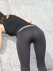 Yummy booty in tight black pants