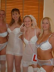 Pics of Lovely Bride In White With Stockings Over Pantyhose