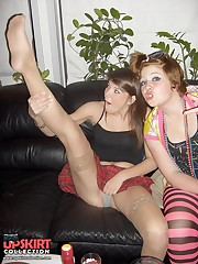 Enticing upskirt flash from the amateur chicks