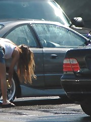 Candid upskirt, near the car. She washed car and flashed