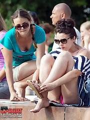 Girls relaxing in park great upskirts