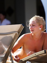 Bikini blonde bared off her nudity