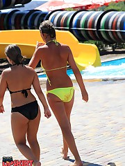 Intimacy of bikini girls voyeured