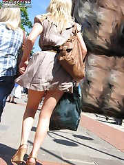 The real upskirt - voyeur blonde in public place upskirt pic