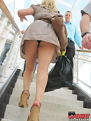 The real upskirt - voyeur blonde in public place upskirt no panties