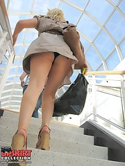 The real upskirt - voyeur blonde in public place teen upskirt