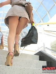 The real upskirt - voyeur blonde in public place upskirt pussy