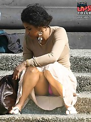 Upskirt of a squatting ebony beauty. Squat upskirt candid upskirt