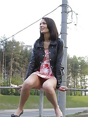 Hot chick's outdoor upskirt upskirt pantyhose