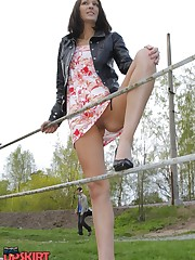 Hot chick's outdoor upskirt upskirt shot