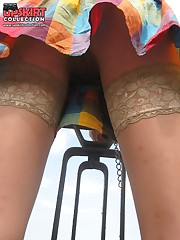 Hot stockings upskirt candid upskirt