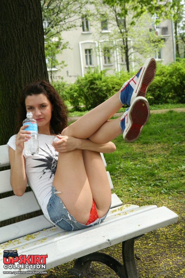 Pretty girl outdoor voyeur