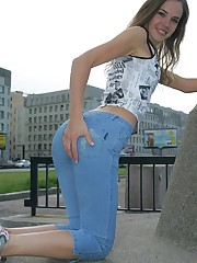 Blue fitting jeans of this girl sexily wrap her slim hips upskirt pussy