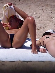 The babes' bikini panties hardly cover their nubs upskirt pussy