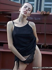Nasty girls loses off top and then panties in the street upskirt no panties