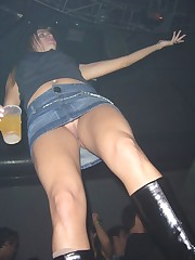 Boozed chicks lose panties and expose nude upskirt up skirt pic