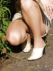Lewd babes' upskirt view looks great when they wear nylons upskirt pantyhose