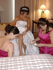 Set of Hot Bride In Wedding Dress upskirt picture