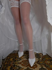 Set of Hot Bride In Wedding Dress upskirt photo