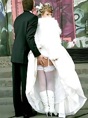 Gellery of Hot Bride In Wedding Dress up skirt pic