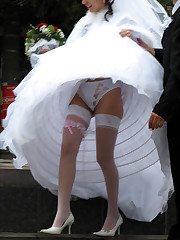 Gallery of Lovely Bride In White With Stockings Over Pantyhose celebrity upskirt