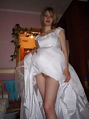 Images of Nice Bride Poses In White Stockings upskirt picture