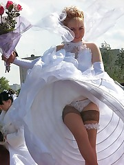 Images of Beautiful Bride Spreading upskirt pic