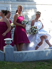 Images of Beautiful Bride Spreading upskirt photo