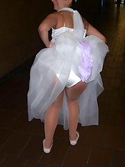 Images of Beautiful Bride Spreading upskirt shot