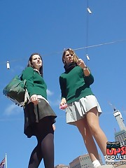 Schoolgirl upskirt - legal teen in green skirt spyed upskirt picture