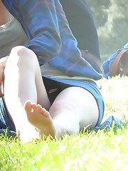 Two beauties on a glade. Candid up skirt pictures upskirt no panties