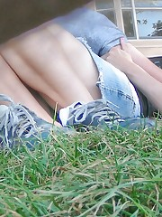 Young public up skirt - cutie flashing with her BF nearby upskirt shot