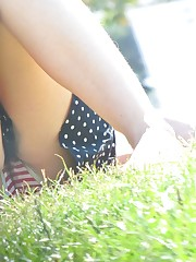 She's a patriot due to her panty! Funny up skirt candid upskirt
