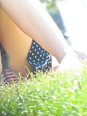 She's a patriot due to her panty! Funny up skirt upskirt picture