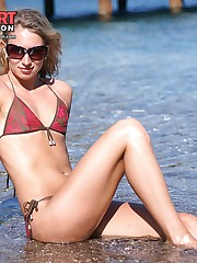 Golden skin of girls looks hot in tiny bikini celebrity upskirt