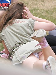 Mini skirt up skirts shot in the park upskirt shot