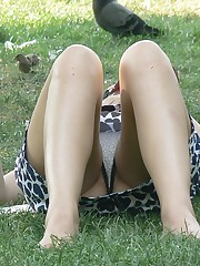 Girls lifting up skirts get spied on camera candid upskirt