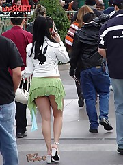 Open legs up skirts enticing the public candid upskirt