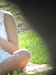 Very cute blonde on a glade. Public upskirt upskirt pantyhose