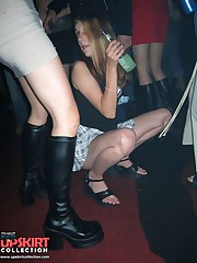 Crazy party chicks showing their upskirts upskirt pussy