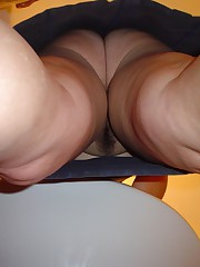 Hairy upskirt. Views with panties off and on candid upskirt