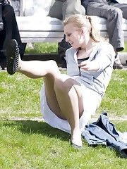 Cute upskirt girls relax in the park upskirt photo