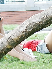 Cute upskirt girls relax in the park celebrity upskirt