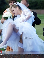 Looking up skirt of a hot bride upskirt pic