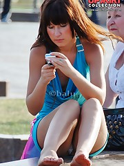 Sneaky upskirt shots made outdoors celebrity upskirt
