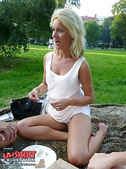 Two blondes filmed by upskirt hunter candid upskirt