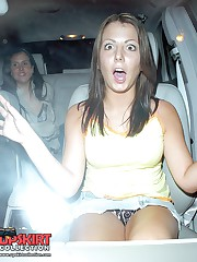 Awesome up skirt in car celebrity upskirt