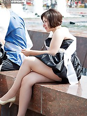 Secret spying of beautiful upskirts upskirt pantyhose