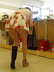 Raunchy upskirt games on spy camera upskirt pussy